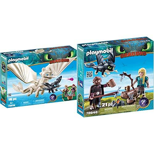 Playmobil DreamWorks Dragons 70038 Tagschatten und Babydrachen mit Kindern, Ab 4 Jahren & 70040 - Hicks und Astrid mit Babydrachen