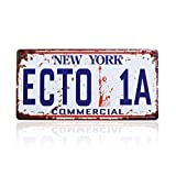 Ghostbusters License Plate Memorabilia, Embossed Replica, Movie Prop Metal Stamped Vanity Number Tag, 12x6 inch (ECTO-1A)