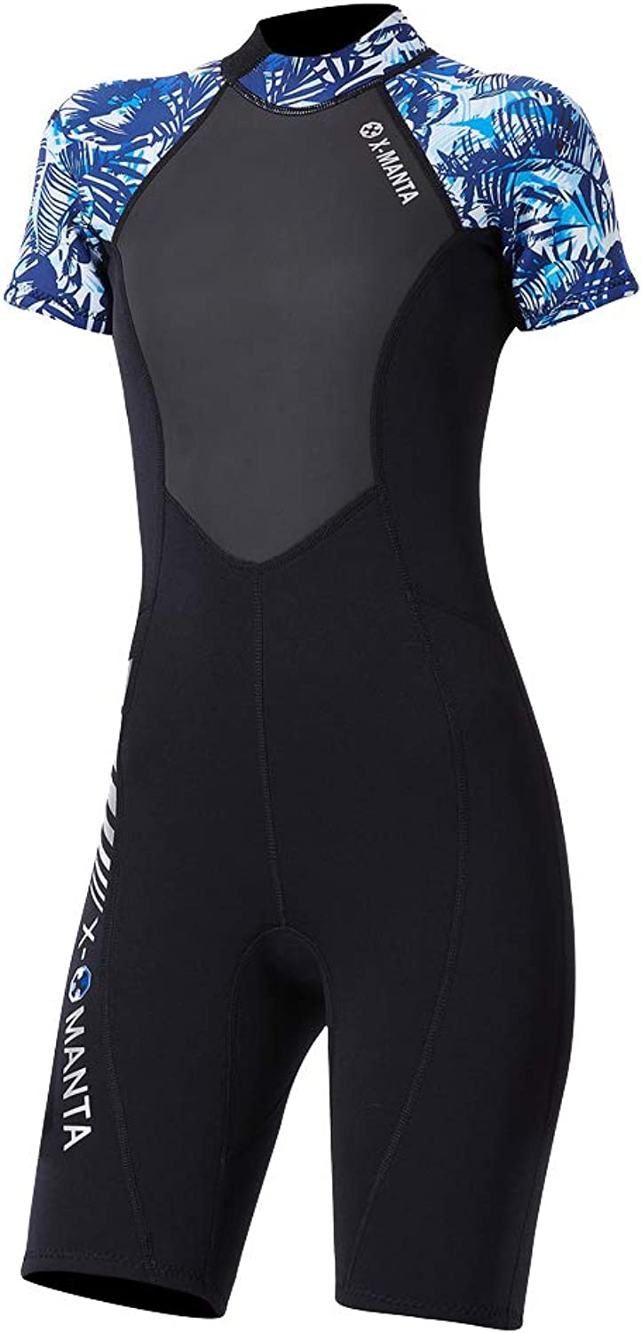 B Blesiya 1.5mm Neoprene Women Short Sleeve Wetsuit, One Piece Scuba Jumpsuit, Suitable for Diving Spearfishing