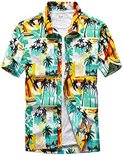 BRQ Beach Shirts Men Summer Vacation Shirts Coconut Tree Printed Short Sleeve Button Down Hawaiian Shirts for Men