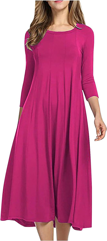 XSSFCC Women's Balloon Sleeve Striped High Waist Dress O-Neck T Shirt Midi Dress