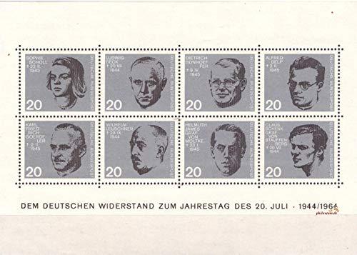 philaseum Briefmarken BRD 1964, Mi.Nr. Block 3, 20. Jahrestag des Attentats auf Adolf Hitler, Postrisch (Mi. 7 €)