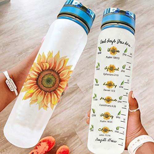 Hothotvery Botella deportiva con estampado vintage para mi hijo, girasol, amor, mamá, sin BPA, 1 l, antigoteo, color blanco, 1000 ml