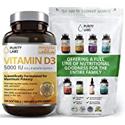 Pure Vitamin D3 with 5000IU Per Serving | 240 Softgels - 8 Month Supply | Supports Daily Defense, Bone, Hormone, Muscle, Skin, and Teeth Supplement | Gluten-Free, Always Non-GMO, Preservative Free