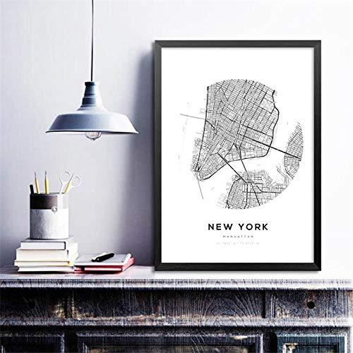 LLXHGMinimalistische Leinwand Malerei Wandkunst Bild Stadtpläne Dekor, Paar London New York Wandkunst Drucke Karte Poster-30X42 cm Kein Rahmen