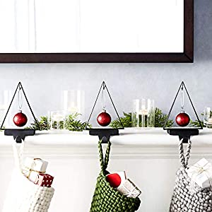 🎄 【Modern & minimalist】-A hook at the top of the tree allows you to hang an ornament for extra sparkle. Supported by a sturdy square base, the stocking hook can hold even the most gift-laden stockings. 🎄 【Light & Practical】-Composed of Iron with blac...