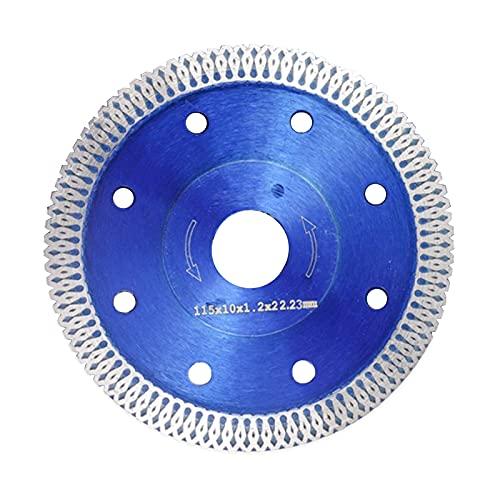 Disco de corte de diamante de 115 mm para gres porcelánico, azulejos, cerámica, granito, disco de corte de diamante, 115 mm x 22,23 mm, flexible, hojas de diamante (azul)