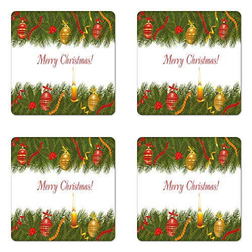 Christmas Coaster Set of 4, Christmas Tree with Elements and Burning Candle Retro Style Hand Writing, Square Ceramic Coasters for Drinks with Cork Base, Multicolor, Christmas Gifts