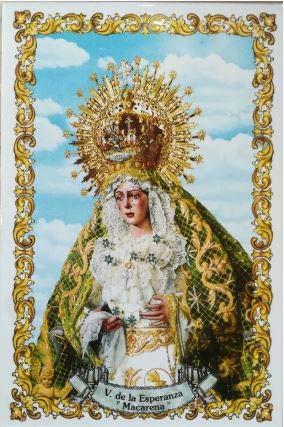 Virgen de la Esperanza Macarena de Sevilla. Azulejo fabricado artesanalmente para decorar. Cerámica para colgar. Calca cerámica (20x30 cms)