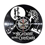 wtnhz LED-Reloj de Vinilo con Disco de CD Tema de Pesadilla Antes de Navidad 3D Jack y Sally película Colgante LED Reloj de Pared Creativo Reloj Antiguo