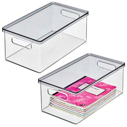 mDesign Set da 2 box in plastica per ufficio o casa – Pratico contenitore porta oggetti con coperchio per cancelleria – Portaoggetti trasparente in resistente plastica – trasparente/color carbone