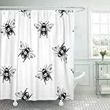 LongTrade Bad Duschvorhang Shower Curtain Collection Honey Bee Engraving Pattern Sketch Ancient Animal Apiary Waterproof Polyester Fabric Set with Hooks 48