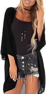 PINKMSTYLE Women's 3/4 Sleeve Cover Up Sheer Blouse Kimono Chiffon Loose Cardigan