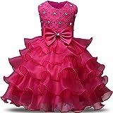 NNJXD Robe de filles Gamins Volants dentelles Robes de mariage pour les parties Taille(100) Couleur rose pour les filles de 2-3 ans