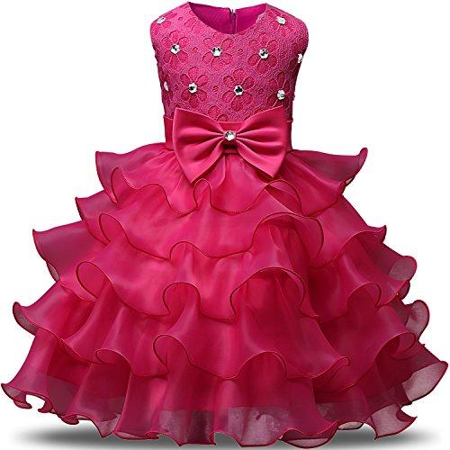 NNJXD Mädchen Kleid Kinder Rüschen Spitze Party Brautkleider Größe(130) 5-6 Jahre Rose