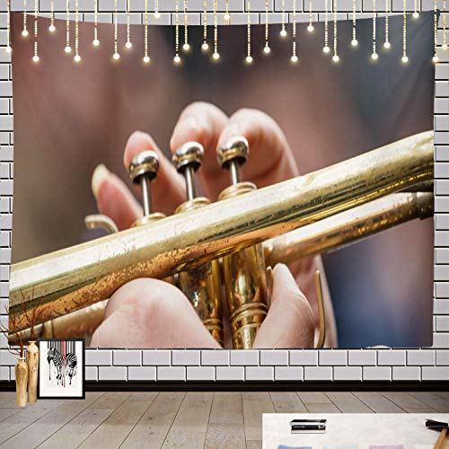 Batmerry Music Abstract Art Band Tapestry, Musician with Brass Trumpet Music Give Best Sound Banner Picnic Mat Hippie Trippy Tapestry Wall Art Decor for Bedroom Living Room, 59.1 x 82.7 Inches, Gold 1