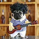 Idepet Pet Halloween Costume Funny Guitar Dog Costume Dressing Up Pet Clothes Suit for Puppy Small Medium Dogs Chihuahua Teddy Pug Christmas Party Halloween Costumes Outfit (Size M)