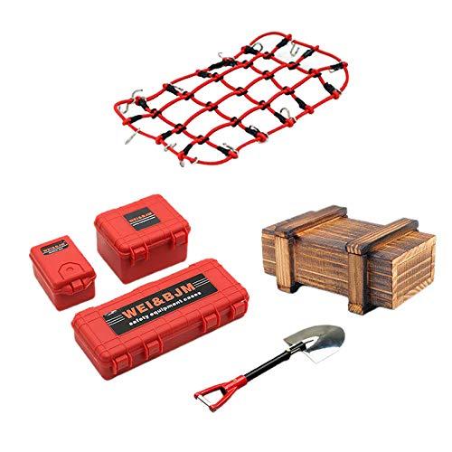 perfeclan 1/10 Mini Caja de Herramientas Maleta Pala Decoración Accesorios RC Caja de Equipaje para TRX4 SCX10 90046 90047 MST VS4 Oruga Accesorio de decoración - Rojo