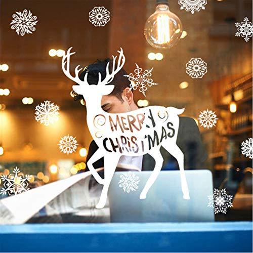 Wuyyii White Christmas Fenster Aufkleber Weihnachten Bier Snowflower Decals Neujahr Frohe Weihnachten Self Adhesive Festival Glas Wandaufkleber