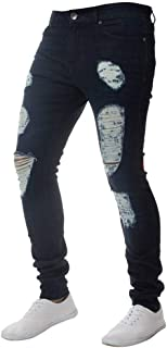 Mens Skinny Vintage Denim Pencil Pants Stretch Trousers Hole Ripped Zipper Jeans