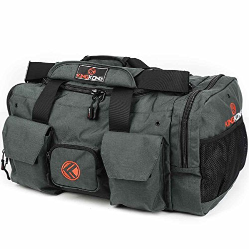"King Kong Original Nylon Gym Bag - Heavy Duty and Water-Resistant Duffle Bag - Military Spec Nylon- Heavy Duty Steel Buckles - 20"" x 12"" x 12"" - Charcoal"