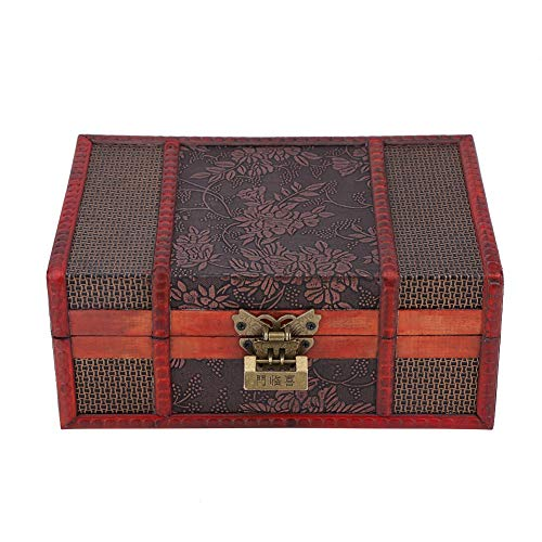 yuyte Handcrafted Wooden Jewelry Box with Small Lock, Keepsake Gifts Storage Box Organizer with Intricately Hand Carved