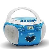 xutu Lectores de CD Boombox de Reproductor de CD portátil con Radio Am/FM, Pantalla LED, Control Remoto, Sistema de Radio estéreo DSP, Interfaz de Tarjeta USB/SD/TF (Color : Blue)