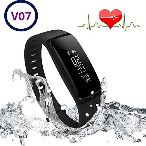 LCM Fitness-Armband, Smart Band, Activity Tracker, misst Herzfrequenz und Blutdruck, funktioniert als Schrittzähler und überwacht unseren Schlaf und die Kalorien S, Schwarz