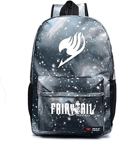 Anime Fairy Backpack Canvas Book Bag Laptop Travel Bag Gray White for Men Boy product image