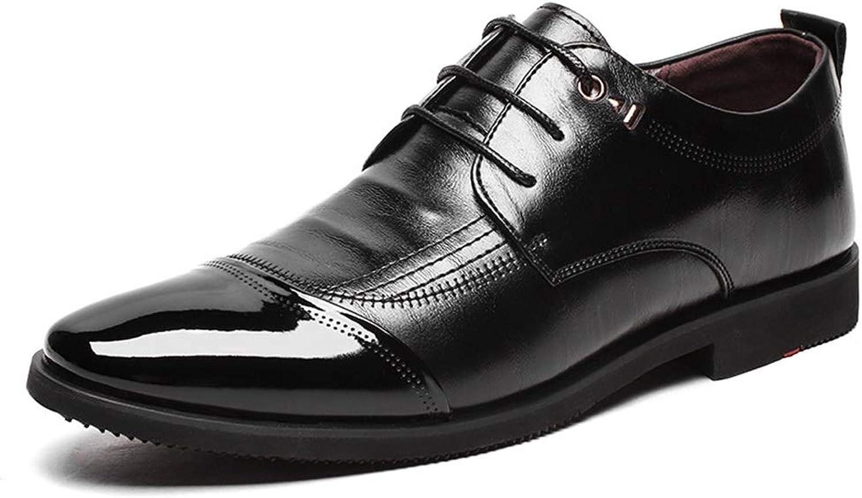 Easy Go Shopping Pointed Microfiber shoes MenMen's Business shoes Men's shoes Classic Cricket shoes (color   Black, Size   43)