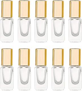 3ml Square Glass Roller Bottle For Essential Oils,Mini Glass Bottles With Stainless Steel Roller Balls,Gold Aluminum Caps ...