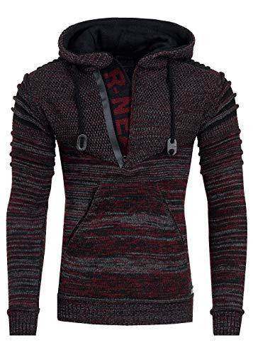 R-Neal Kapuzen-Pullover Herren Pullover Strick mit Kapuze Pulli Hoodie Zipper mit Front Brand Logo im Future Design 343, Farbe:Bordeaux, Größe:2XL