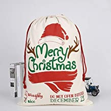 Large Christmas Xmas Hessian Santa Sack Stocking Bag Reindeer Children Gifts Bag, Cream - Merry Xmas w Antler