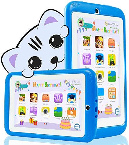 YESTEL Tablet per Bambini 7 Pollici Android 10.0 Kids Tablet e Quad Core 1 GB RAM e 16 GB Rom con Wi-Fi e Bluetooth 1024 * 600 IPS Doppia Fotocamera Educazione Allo Spettacolo Tablet per Bambini-Blu