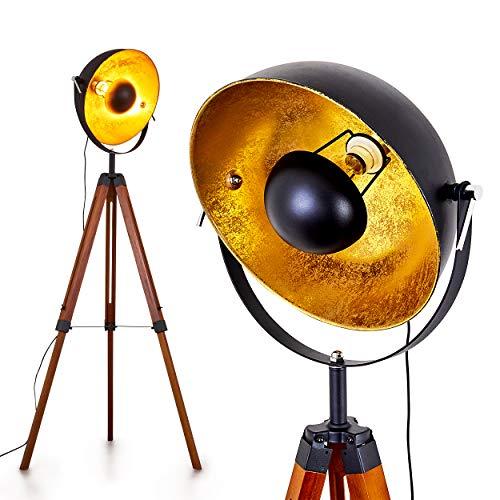 Stehlampe Jupiter, Vintage Stehleuchte in Schwarz/Gold aus Metall m. Gestell aus Holz, Ø 45cm, E27-Fassung, max. 60 Watt, verstellbare Bodenleuchte im Retro-Design, geeignet für LED Leuchtmittel