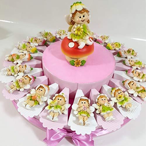 Sindy Bomboniere 8054382130 Torta Bomboniera Fatine Folletti, Resina Lucida, Rosa, 4 x 3 x 4.5 cm