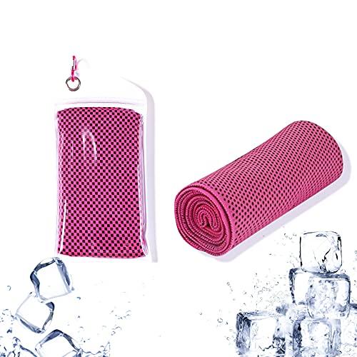 JeoPoom Toalla de Enfriamiento, Toalla de Hielo Fría Instantánea, Toalla Deportiva de Secado Rápido de Gimnasio Toalla, Cooling Towel para Fitness, Deporte, Viajes, Yoga(Rojo)
