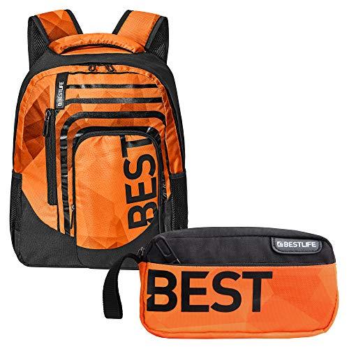"""BESTLIFE Mochila y estuche en un set """"BREVIS"""" mochila escolar, para el tiempo libre con compartimento para el portátil hasta 15,6 pulgadas (39,6 cm), naranja"""