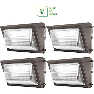 Sunco Lighting 4 Pack 80W Dusk-to-Dawn LED Wall Pack, Daylight 5000K, 7600 LM, HID Replacement, IP65, 120-277V, Photocell Sensor, Bright Consistent Commercial Outdoor Security Lighting