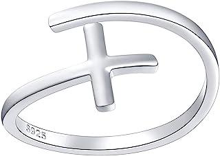 Simple Cross Ring Sterling Silver Adjustable Cross Wrap Open Ring for Women Girls