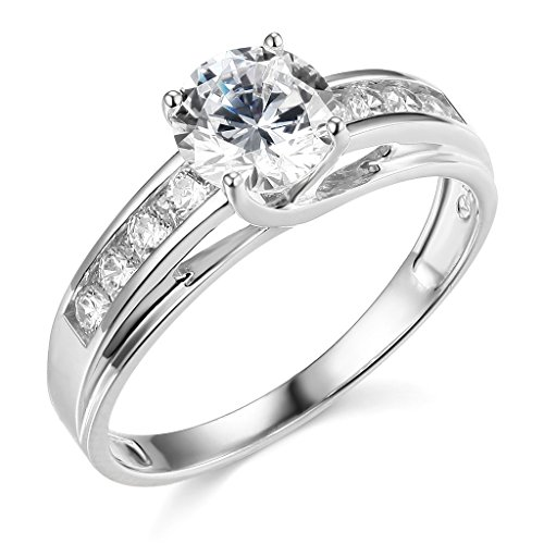 The World Jewelry Center .925 Sterling Silver Rhodium Plated Wedding Engagement Ring - Size 6.5