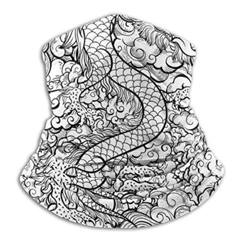 LENGDANU Tradicional dragón chino esquema unisex invierno polar cuello calentador polainas banda para el cabello frío tubo cara térmica cuello bufanda al aire libre protección UV fiesta cubierta