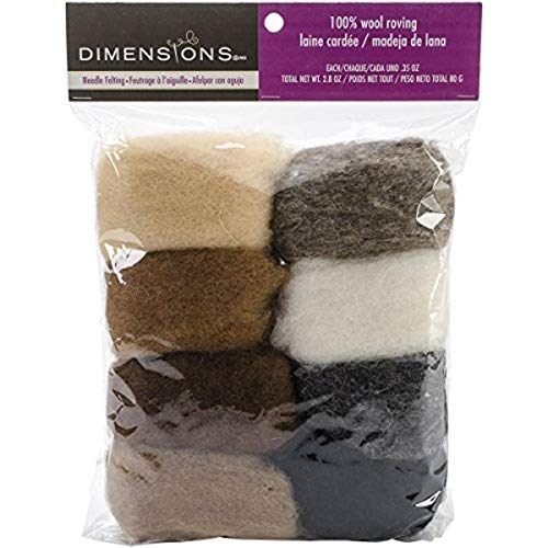 Dimensions Needlecrafts Natural Earth Tone Wool Roving for Needle Felting, 8 pack, 80g