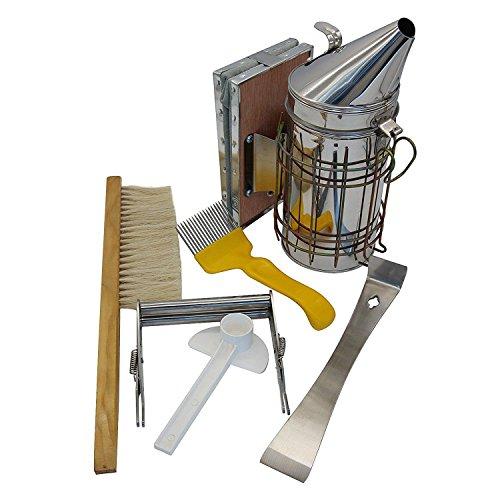 SODIAL Conjunto de herramientas de apicultura de 6 abejas fumador de colmenas, Cepillo de abejas Accesorio de apicultura - Herramienta de mantenimiento de abejas