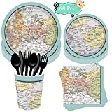 DreamJing 68Pcs Adventure Awalts Party Supplies Adventure World Awalts Tableware Set ,Birthday Paper Cups Plates Napkins for Retirement Travel Party Supplies for 8 Guests