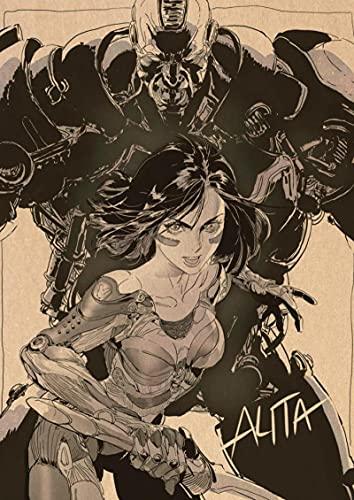 Yiwuyishi Anime Designs Alita Battle Angel Toile Affiche Art Fantasy Wall Sticker pour Café Maison Bar Décoration 50x70cm (19.68x27.55 in) P-1559