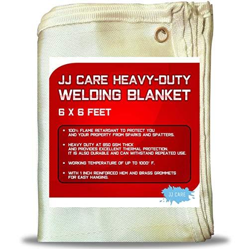 [Pack of 1] Heavy Duty Welding Blanket 6x6 ft [850GSM Thick] Fiberglass Welding Curtain, Weld Blanket, Welding Shield, Weld Curtain