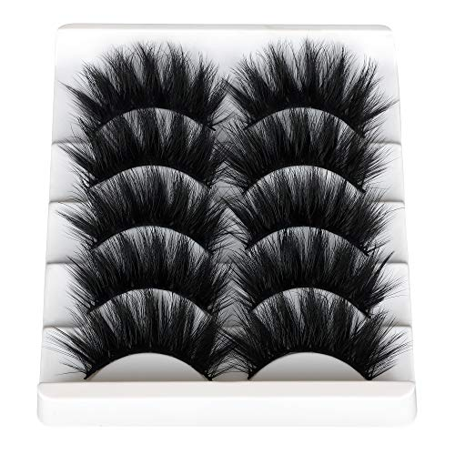 PLEELL Fake Eyelashes 20MM Long Fluffy Mink Lashes Faux Lashes Pack 5 Pairs