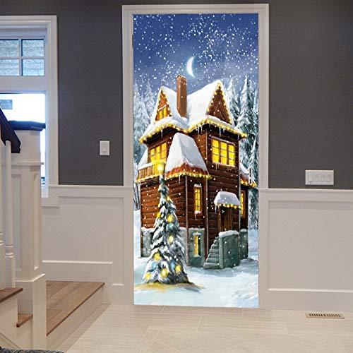 A.Monamour Pegatinas Decorativas de Puerta Autoadhesivo 3D Casa De Madera Blanca Nieve...