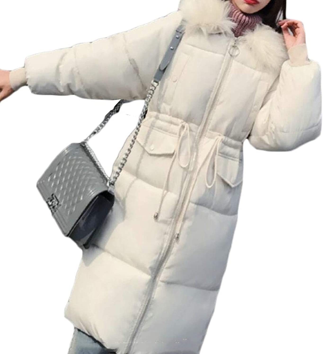 Desolateness Women's Faux Fur Warm Parka Puffer Jacket Hooded Down Coat Long Overcoat